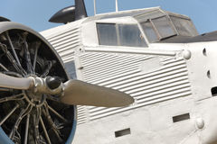 Old fashioned plane with propeller detail Royalty Free Stock Images