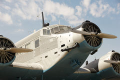 Old fashioned plane with three propellers Stock Photo