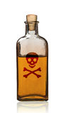 Old fashioned poison bottle with label, isolated. Royalty Free Stock Photography