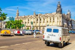 Old-fashioned police and old American cars, Havana Royalty Free Stock Photos