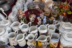 Old-fashioned porcelain crockery for sale at old Jaffa Flea Market. Israel stock image