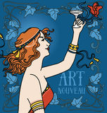 Old fashioned poster in art nouveau style with retro woman drinking champagne and floral frame. Can be used for party invitations, vector illustration Royalty Free Stock Image