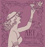 Old fashioned poster in art nouveau style with retro woman drinking champagne and floral frame Royalty Free Stock Photo