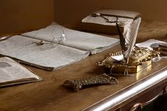 Old-fashioned private office. Table and accessories Royalty Free Stock Images