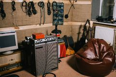 Old-fashioned recording studio with instruments royalty free stock photography