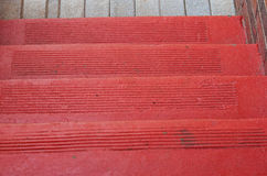 OLD FASHIONED RED STEPS Royalty Free Stock Photos