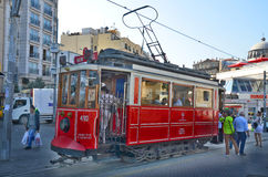 Old-fashioned red tram Stock Photography