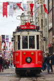 Old-fashioned red tram at the street of Istanbul Stock Images