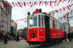 Old-fashioned red tram at the street of Istanbul Stock Image