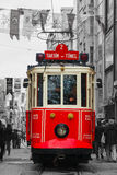 Old-fashioned red tram at the street of Istanbul royalty free stock photography