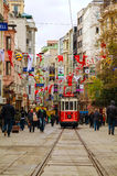 Old-fashioned red tram at the street of Istanbul Royalty Free Stock Photo