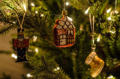 Old fashioned, retro christmas toys with beautiful garland lights and decoration close-up Stock Photo