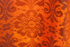 Old-fashioned retro curtain. Old fashioned retro orange curtain Stock Photos