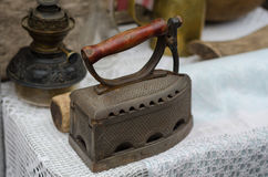 Old fashioned retro metallized heavy antique iron tool Stock Image