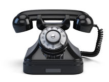 Old-fashioned retro rotary telephone. On white Stock Photo
