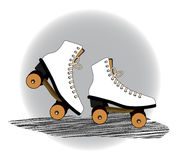 Old fashioned roller blades. Old fashioned vintage roller blades  icon decal movement  concept Royalty Free Stock Image