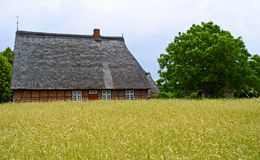 Old- fashioned rural scene. In open-air Freilichtmuseum, Germany Stock Image