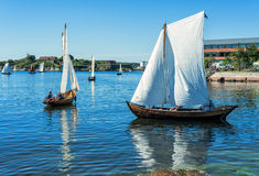 Old fashioned sailboats on the sea Royalty Free Stock Images