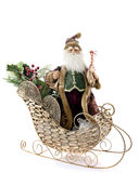 Old-Fashioned Santa in a Gold Sleigh Royalty Free Stock Photography