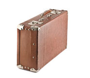Old-fashioned scratched suitcase isolated Stock Images