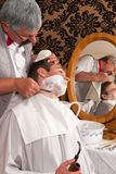 Old-fashioned shave Stock Photo