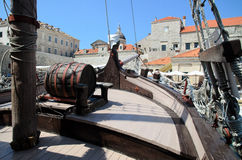 Old-fashioned ship in Dubrovnik harbor Royalty Free Stock Photos