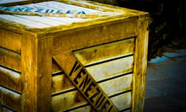 Old fashioned shipping crate. For carrying animals from one destination to another Royalty Free Stock Image