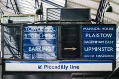 Old fashioned sign on the London Underground at Earl`s Court Station pointing towards destinations within the London tube network Royalty Free Stock Image