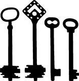 Old fashioned skeleton keys. Vector silhoutte of old fashioned skeleton keys Royalty Free Stock Image