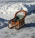 Old-fashioned sled. Russian winter Royalty Free Stock Photography