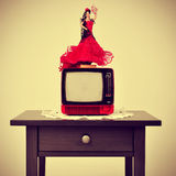Old-fashioned spanish living room, with a flamenca doll in top o Royalty Free Stock Photos
