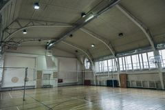 Old-fashioned sport hall stock image