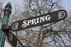 Old Fashioned Spring Street Sign Royalty Free Stock Photos