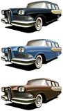 Old-fashioned station wagon. Vectorial icon set of American old-fashioned station wagons isolated on white backgrounds. Every car is in separate layers. File Stock Photo