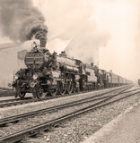 Old-fashioned steam locomotive Royalty Free Stock Photography