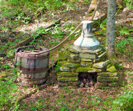An old-fashioned still in the appalachians. Apparatus used by mountain folk to make liquor during prohibition stock photography