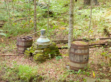 An old-fashioned still in the appalachians. Apparatus used by mountain folk to make liquor during prohibition stock photo