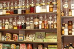 Old village store with medicines royalty free stock photos