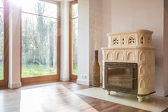 Old-fashioned stove in luxury interior Royalty Free Stock Image