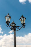 The old-fashioned street lamp, Kolomna, Russia. The old-fashioned street lamp against the sky. Kolomna, Russia royalty free stock images