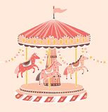 Old-fashioned style carousel, roundabout or merry-go-round with horses. Amusement ride for children`s entertainment royalty free illustration