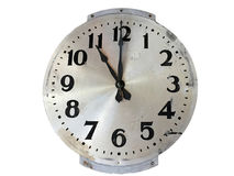 Old fashioned style stainless steel wall clock Stock Photos