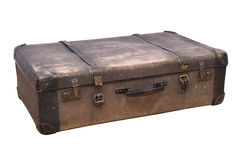 Old-fashioned Suitcase Isolated On White Stock Images