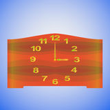 Old-fashioned table clock. With gold digits and redwood clock face. Isolated on a blue background. Vector Royalty Free Stock Photos