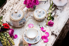 Old fashioned tea set in the garden. Tea pot, flowers and porcelain royalty free stock image