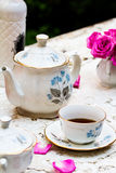 Old fashioned tea set in the garden Stock Images
