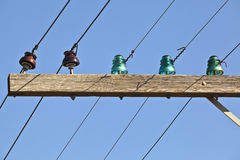 Old-fashioned Telephone Pole and Lines Stock Image