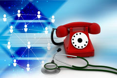 Old fashioned telephone with stethoscope Royalty Free Stock Photography