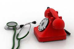 Old fashioned telephone with stethoscope Royalty Free Stock Images