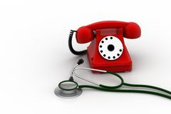 Old fashioned telephone with stethoscope Stock Photo